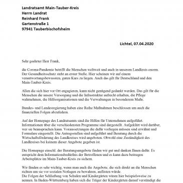 Offener Brief für bessere Darstellung der Hilfen für Kreiseinwohner in Corona-Zeit